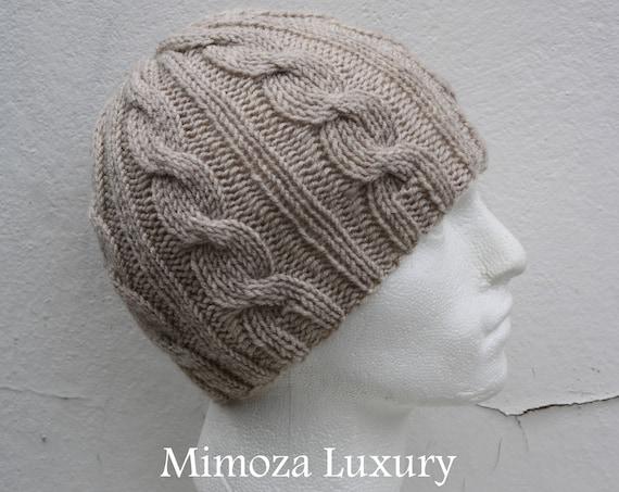 Light Beige Men's Beanie hat, Hand Knitted Hat in beige beanie hat, knitted men's, women's beanie hat , beige winter beanie hat, ski hat