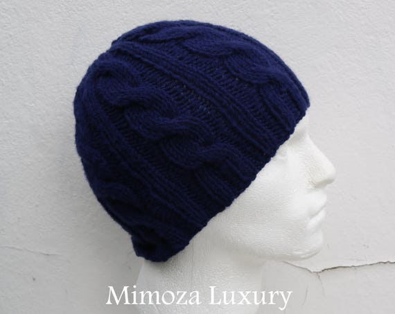 Navy Men's Beanie hat, Hand Knitted Hat in navy, blue beanie hat, knitted men's, women's beanie hat , navy autumn winter beanie hat, ski hat