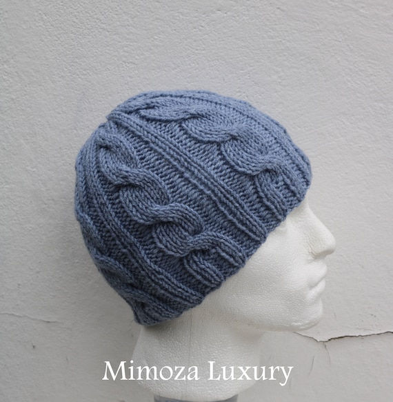 Light Denim Grey Men's Beanie hat, Hand Knitted Hat in denim light grey beanie hat, knitted men's, women's beanie hat , winter hat, ski hat