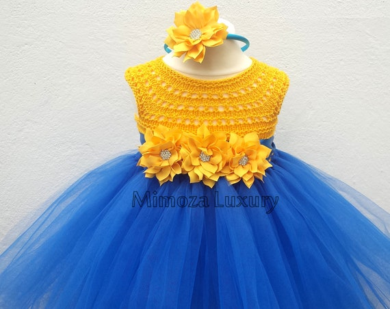 Blue yellow tutu dress, birthday dress outfit , 1st birthday dress, crochet top tulle dress, yellow blue tutu dress, yellow blue birthday