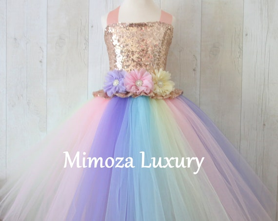 Luxury Unicorn Birthday Dress, unicorn tutu dress, rainbow unicorn girls dress, sequins unicorn dress, rose gold unicorn dress, 1st birthday