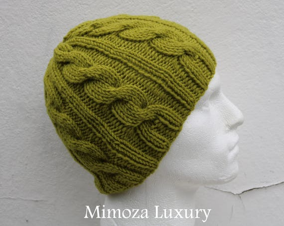 Pistachio Green Men's Beanie hat, Hand Knitted Hat in green beanie hat, knitted men's, women's beanie hat, winter beanie, green ski hat
