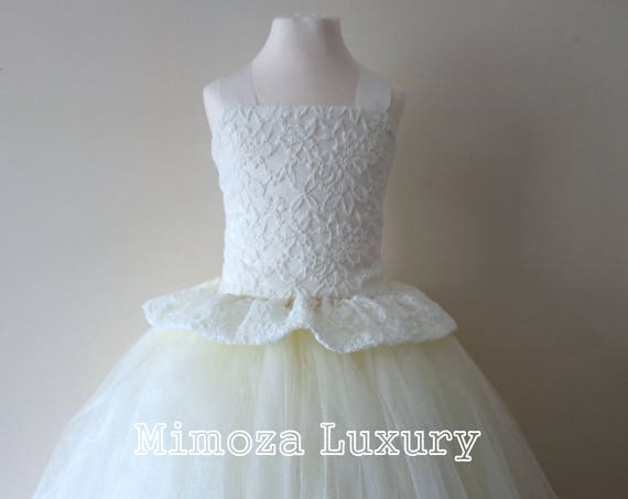 Ivory Lace Flower Girl Dress, Ivory bridesmaid dress, Ivory couture flower girl gown, bespoke girls dress, tulle princess dress, ivory tutu