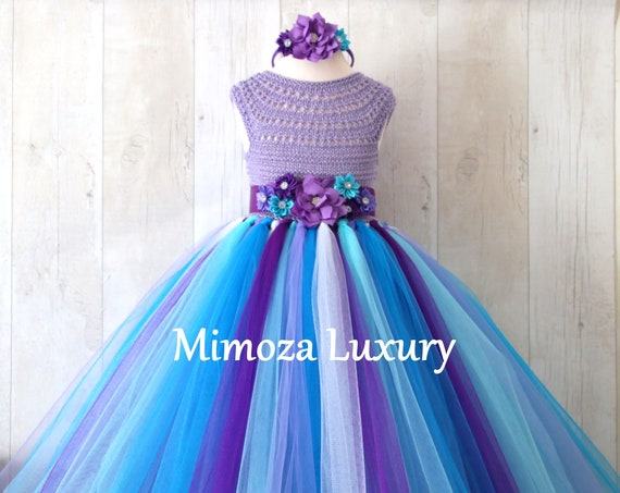 Purple Turquoise Lavender girl dress, girl birthday dress, purple turquoise flower girl dress, purple princess dress, lilac tutu dress,