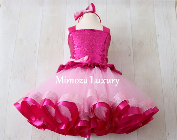 Luxury Pink Birthday Outfit, fuchsia pink girls birthday dress, baby girl tutu princess dress, 1st birthday tutu dress outfit, infant girl
