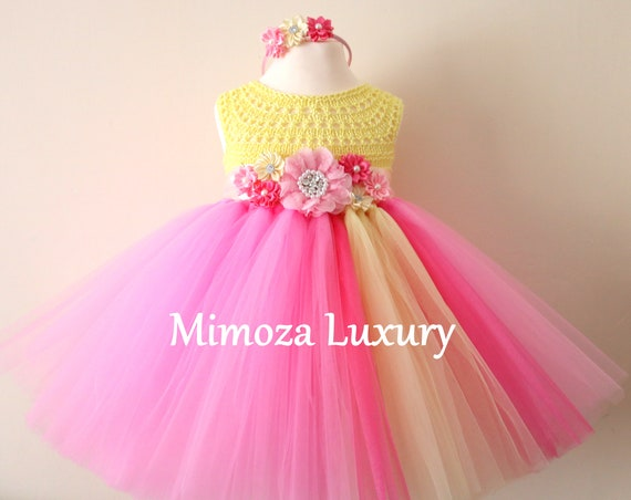 Pink Lemonade Birthday Dress, Infant Baby Girl Dress, Pink Yellow Flower girl dress, infant tutu dress, newborn princess dress, infant party