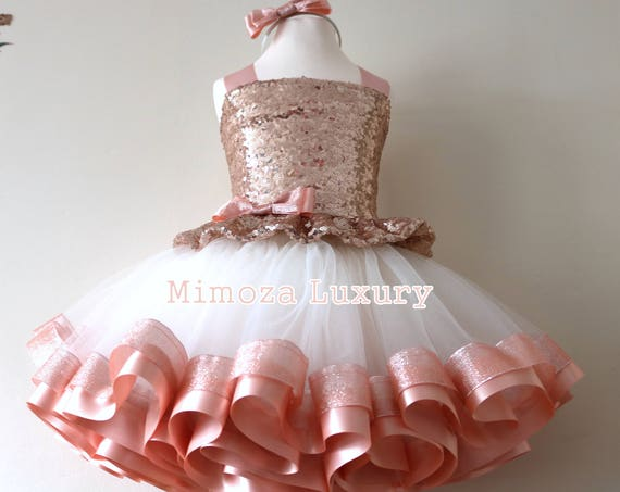 Luxury Rose Gold Birthday Outfit, rose gold girls birthday dress, baby girl tutu princess dress, 1st birthday tutu dress outfit, infant girl