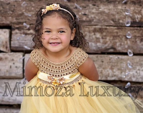 Rustic Gold Flower girl dress
