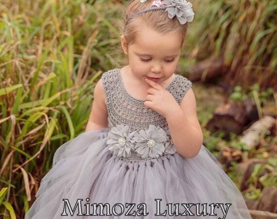 Grey Flower girl dress