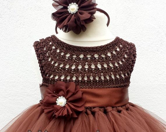 Chocolate Brown Flower girl dress, tutu dress, bridesmaid dress, brown princess dress, crochet top tulle dress,  brown yarn tutu dress
