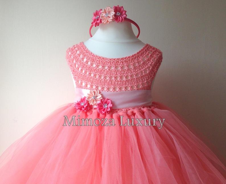 64bbee5ba01 Coral Peach Flower girl dress coral tutu dress bridesmaid