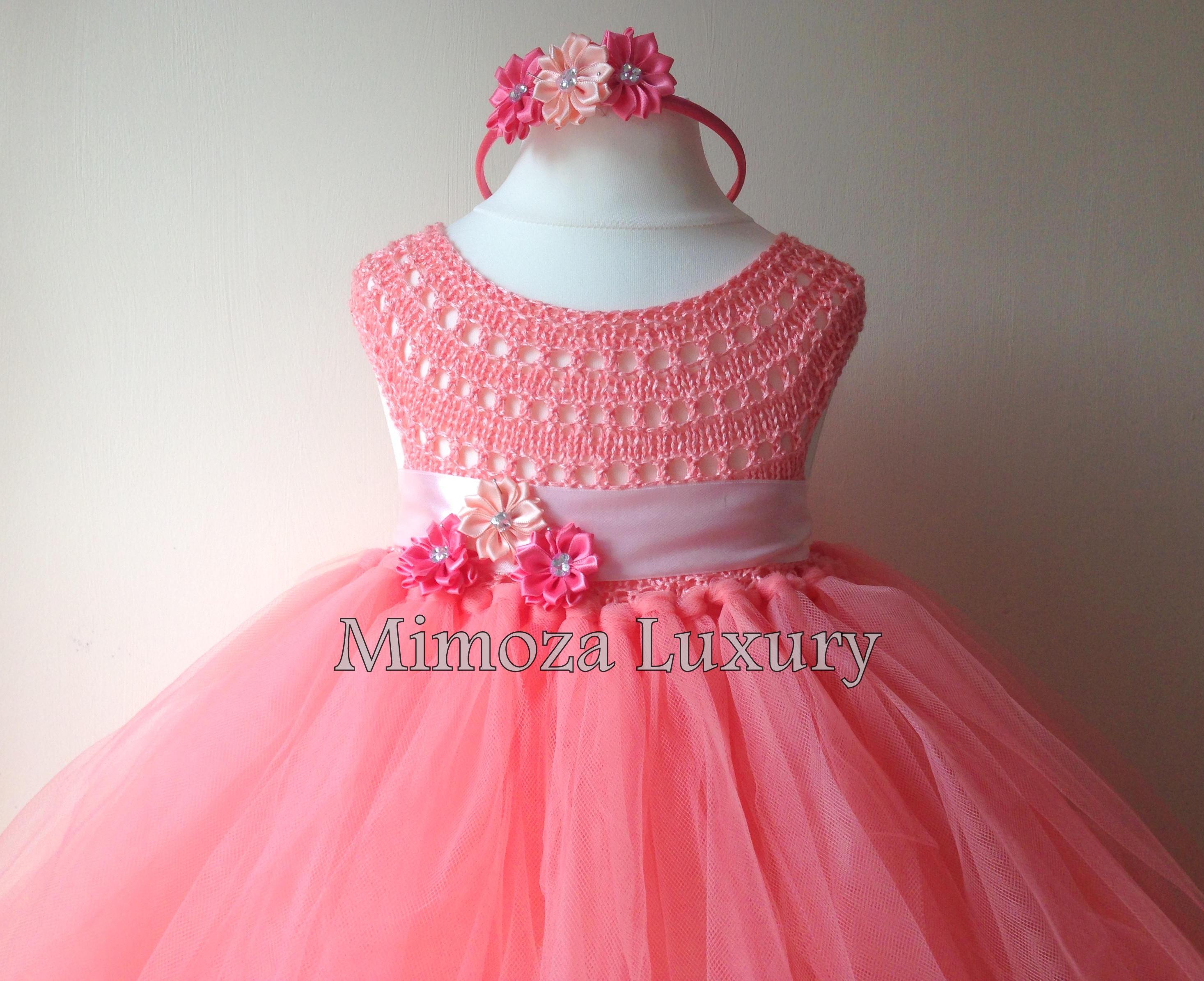 3d43b57b85fe ... bridesmaid dress, coral princess dress, crochet top tulle dress, hand  knit tutu dress. gallery photo ...