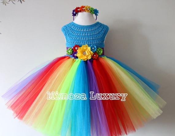 My Little Pony Birthday Tutu Dress, Rainbow tutu dress, my little pony tutu dress, crochet top tulle dress, hand knit top tutu halloween