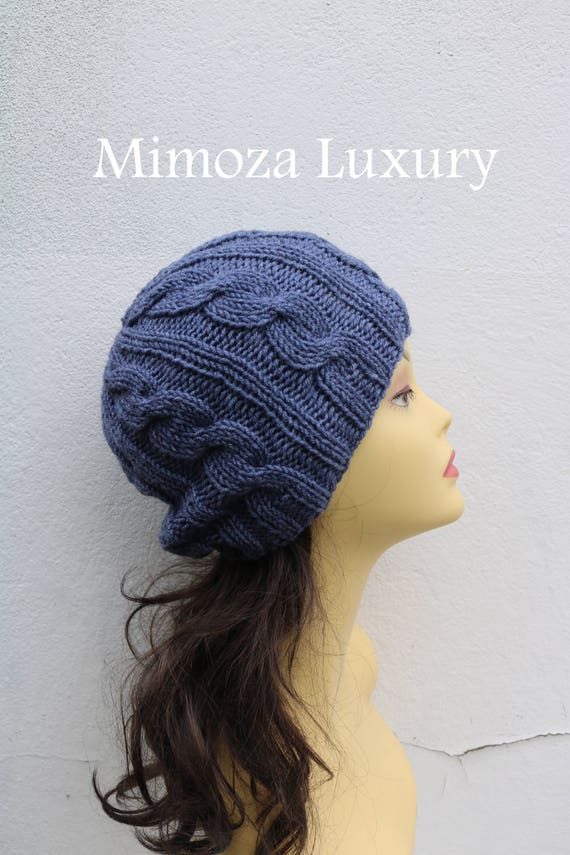 Dark Denim Grey women's Beanie hat, Hand Knitted Hat in denim dark grey beanie hat, knitted men's, women's beanie hat , winter hat, ski hat