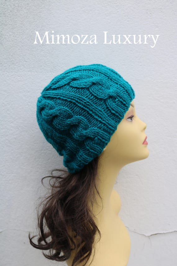 Teal Green women's Beanie hat, Hand Knitted Hat in sea green beanie hat, knitted men's, women's beanie hat, winter beanie hat, green ski hat