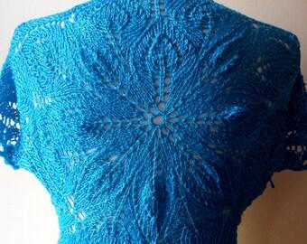 Turquoise Hand Knitted Bolero, turquoise blue Bridesmaid bolero, wedding bolero, knit  Bolero, Silk knit Bolero, turquoise blue silk