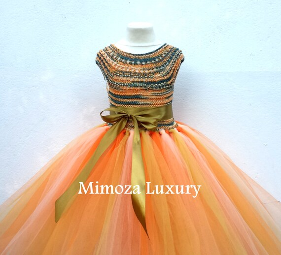 Autumn Flower girl dress, autumn wedding, orange, green, gold princess dress, gold crochet top tulle dress, hand knit tutu dress