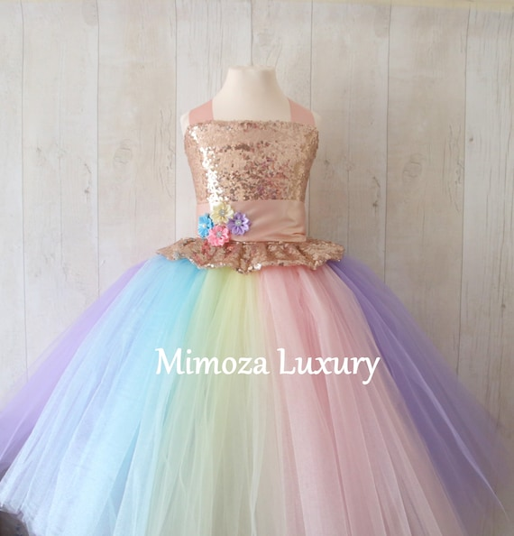 Luxury Unicorn birthday Dress rainbow tutu dress