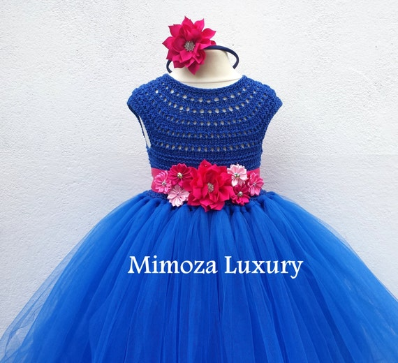 Royal Blue Flower girl dress, Sapphire blue tutu dress, royal blue bridesmaid dress, royal blue princess dress, crochet top tulle dress