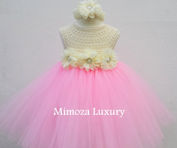 Baby Pink Flower girl dress, blush pink tutu dress princess dress, blush powder pink crochet top tulle dress, hand knit tutu dress in pink