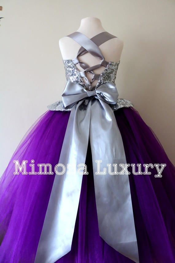 Purple & Silver Flower Girl Dress, Purple bridesmaid dress, couture flower girl gown, bespoke girls dress, tulle princess dress, Purple gown