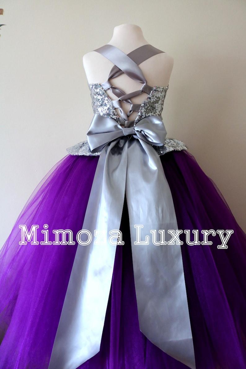 d5b7c7e74d1 Purple   Silver Flower Girl Dress Purple bridesmaid dress