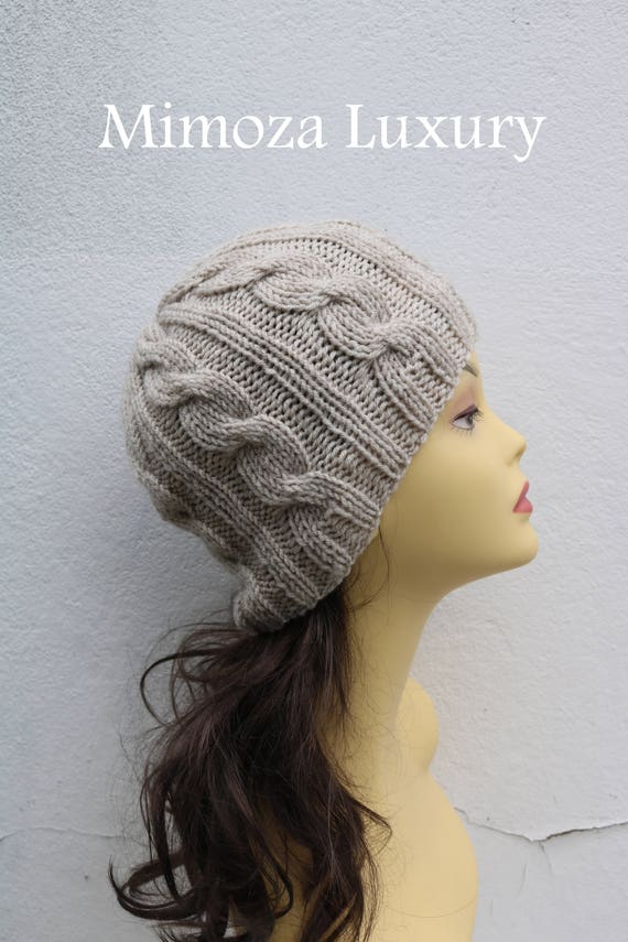 Light Beige women's Beanie hat, Hand Knitted Hat in beige beanie hat, knitted men's, women's beanie hat , beige winter beanie hat, ski hat