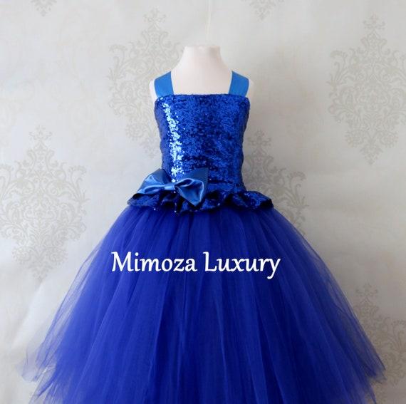 Royal Blue Sequin Flower Girl Dress, blue sequin bridesmaid dress,  royal blue flower girl gown, bespoke girls dress, tulle princess dress