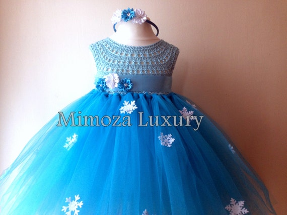 Frozen Elsa Princess Flower girl dress, turquoise tutu dress, sky blue bridesmaid dress, Elsa Frozen princess dress, crochet top tulle dress
