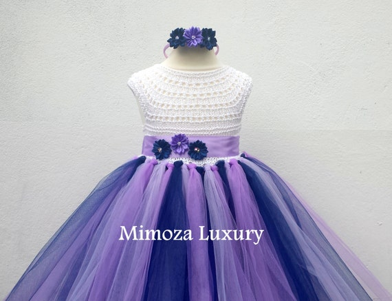 Navy Lavender Purple Flower girl dress, tutu dress,bridesmaid dress, princess dress, crochet top tulle dress, hand knit top tutu dress