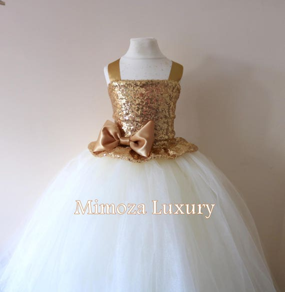 Gold Ivory Flower Girl Dress, gold bridesmaid dress, couture flower girl gown, bespoke girls dress, tulle princess dress, gold Ivory tutu