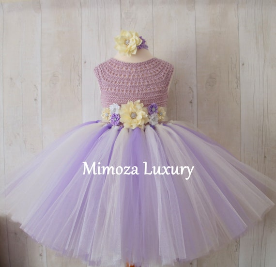 Cream Lavender Flower girl dress, tutu dress bridesmaid dress, princess dress, crochet top tulle dress, knit top tutu dress lavender lilac