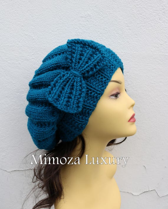 Petrol blue Woman Hand Knitted Hat with Bow, teal Blue hat with bow, ocean blue knit hat, slouchy knit women's hat with bow, winter hat