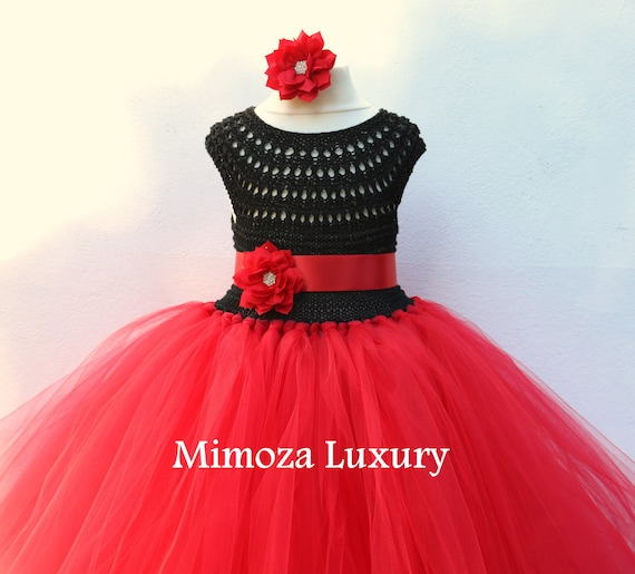 Black and Red Flower girl dress, tutu dress, red bridesmaid dress, red princess dress, crochet top tulle dress, hand knit tutu dress in red