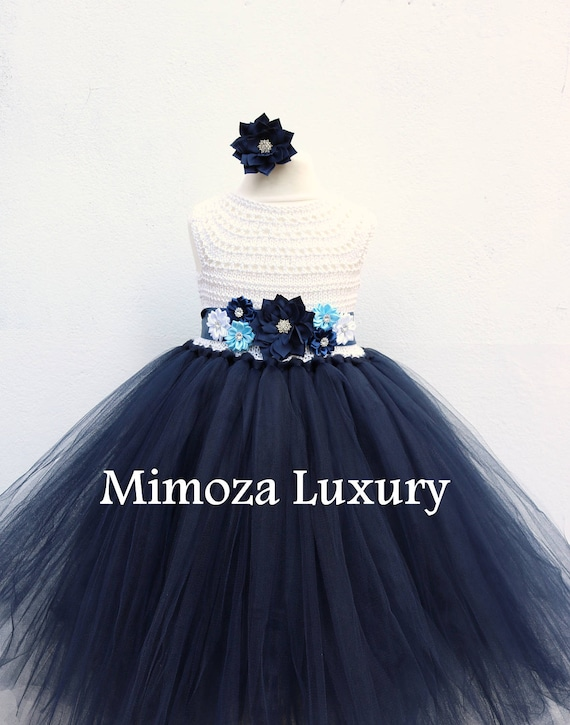 Navy white flower girl dress white and navy tutu dress navy etsy image 0 mightylinksfo