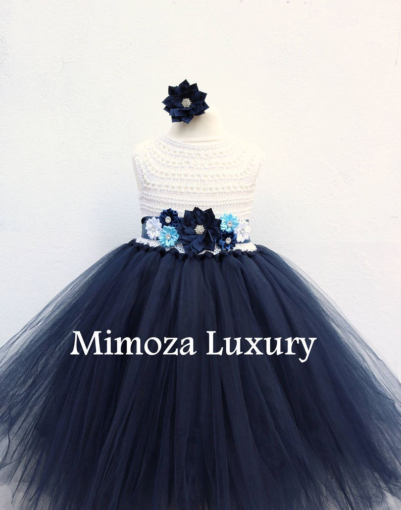 27d9d972117 Navy White Flower girl dress White and Navy tutu dress navy