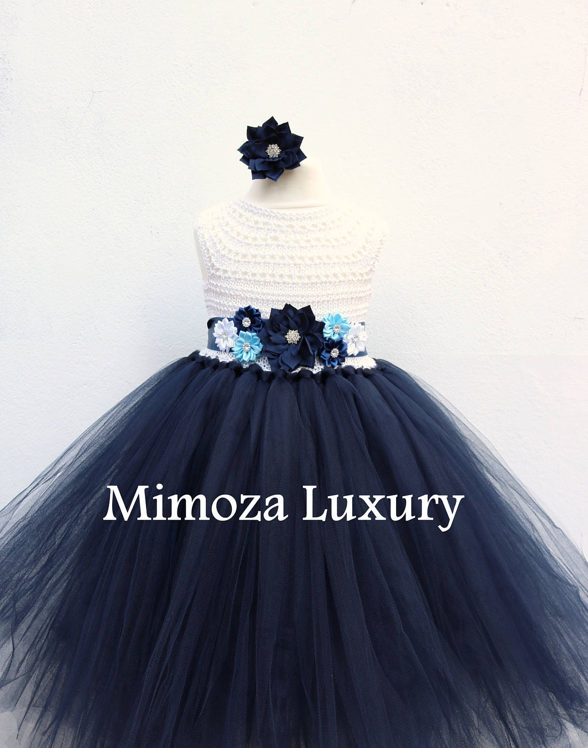 Navy White Flower Girl Dress White And Navy Tutu Dress Navy Blue