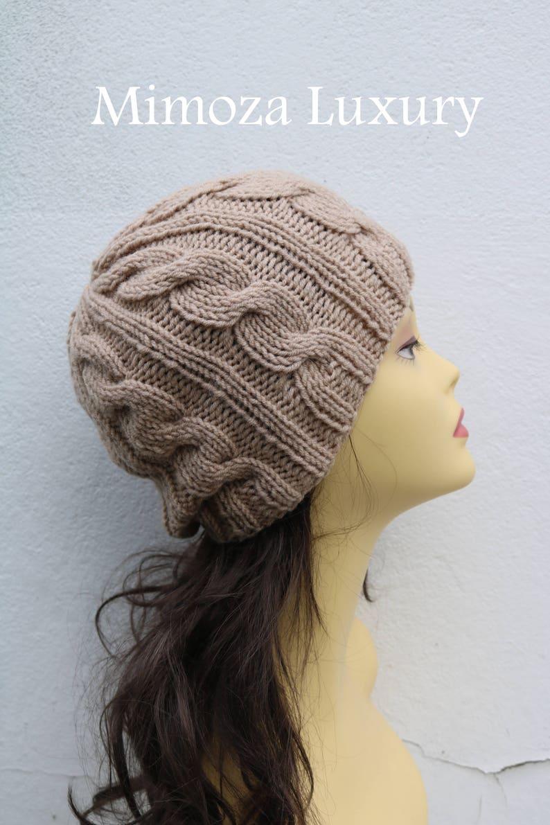 b9fc7d65640 Beige women s Beanie hat Hand Knitted Hat in beige beanie