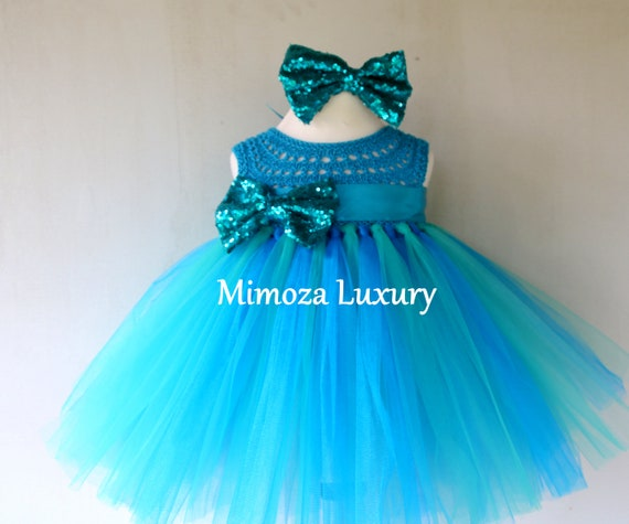 Teal baby girls dress