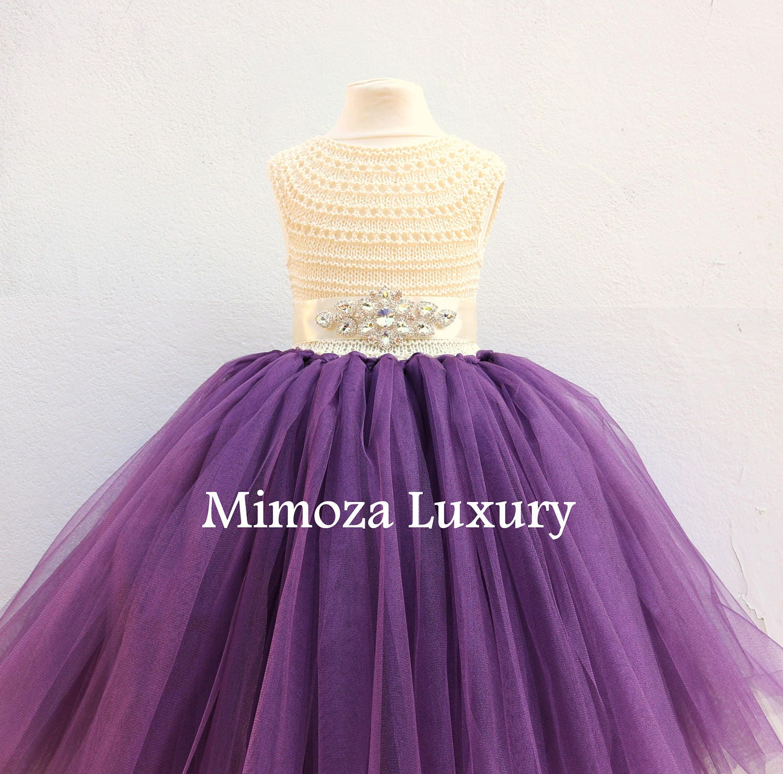 0c7826fb9 ... eggplant ivory tulle dress, girls wedding dress, little bridesmaid dress.  gallery photo ...