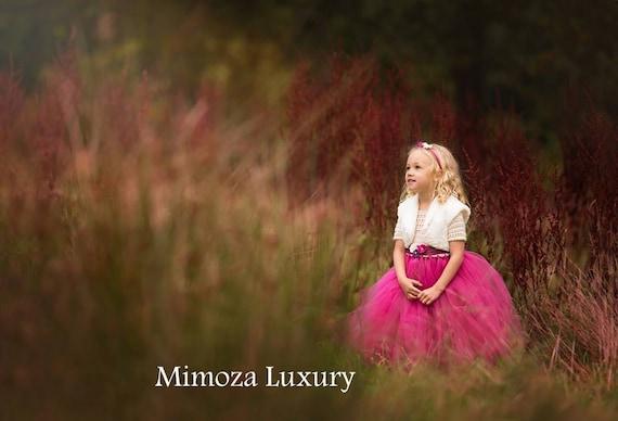 Flower girl dress, Christmas tutu dress, long sleeve tutu dress, bridesmaid dress princess dress, crochet top tulle dress dark fuchsia dress