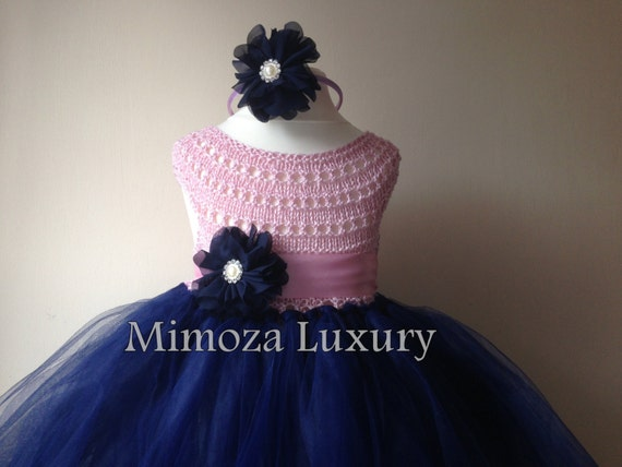Navy Pink Flowergirl dress, tutu dress, navy bridesmaid dress, princess dress, silk crochet top tulle dress, hand knit silk top tutu dress