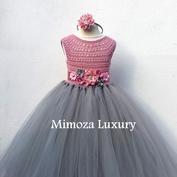 Dusty pink and grey flower girl dress tutu dress bridesmaid etsy image 0 mightylinksfo