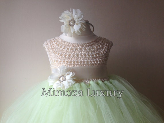 Mint Green Ivory Flower girl dress, tutu dress, bridesmaid dress, princess dress, mint crochet top tulle dress, knit tutu dress mint ivory