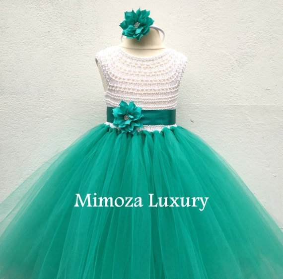 Flower girl dress, tutu dress, bridesmaid dress, princess dress, crochet top tulle dress, hand knit top tutu dress, teal sea green tutu