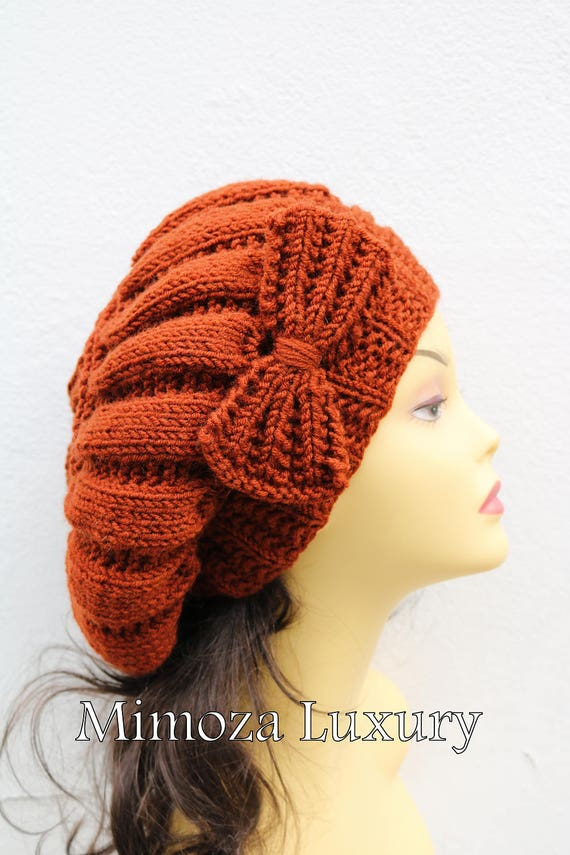 Brick Fox Orange Woman Hand Knitted Hat with Bow, Brick Beret hat with bow, Fox knit hat, slouchy knit women's hat with bow, winter hat