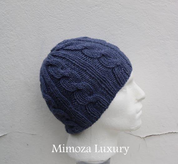 Dark Denim Grey Men's Beanie hat, Hand Knitted Hat in denim dark grey beanie hat, knitted men's, women's beanie hat , winter hat, ski hat