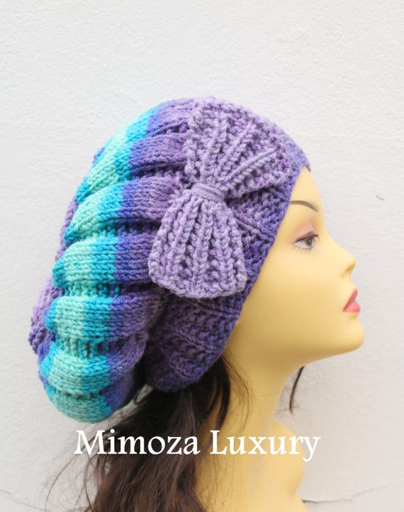 Purple/Turquoise Woman Hand Knitted Hat with Bow, Beret hat with bow, Purple knit hat, purple slouchy knit women's hat with bow, winter hat