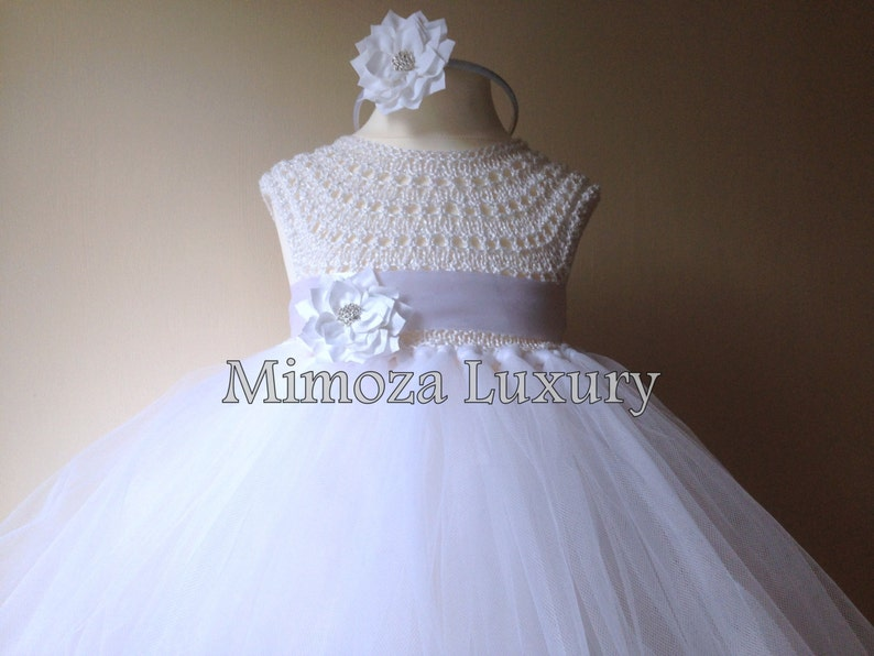 2883cab9662 White Flower girl dress tutu dress bridesmaid dress