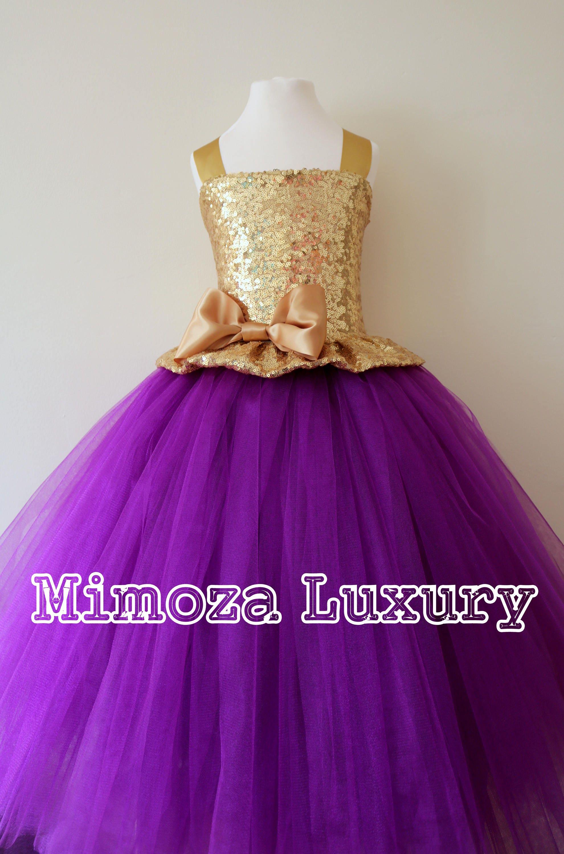 472e9f5fa3c Gold Purple Flower Girl Dress